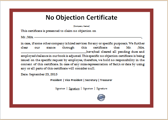 Doc768994 Noc Certificate Format in Pdf Sample No Objection – Sample No Objection Letter