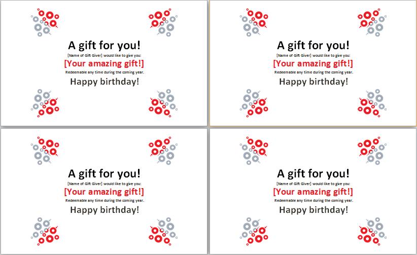 birthday gift certificates