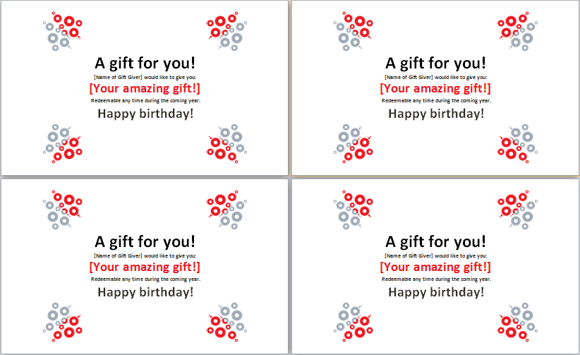 Birthday Gift Certificate Template Ms Word Word Excel