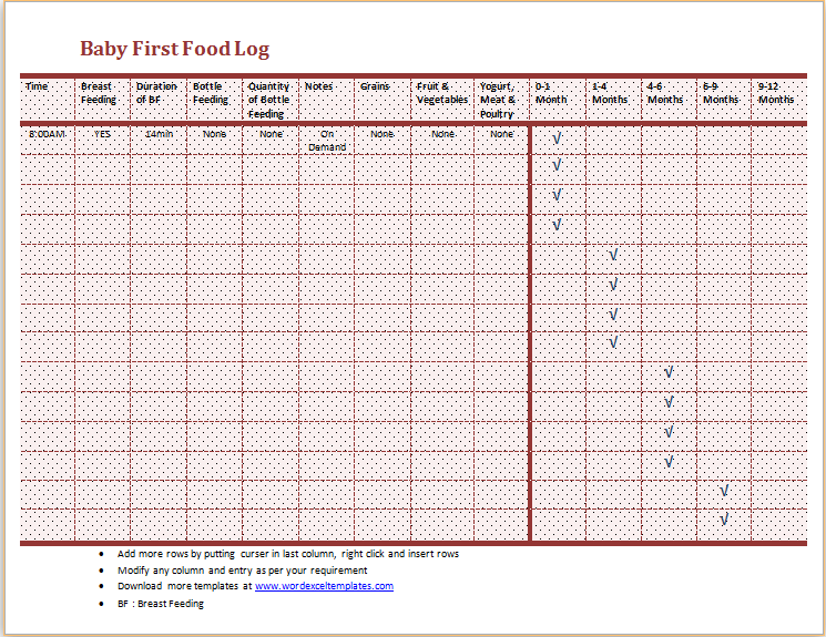 Food Diary Template Excel – Food Diary Template Download
