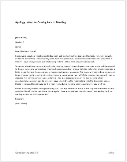 Poor Services Apology Letter MS Word Document Template Word - apology letter for being late