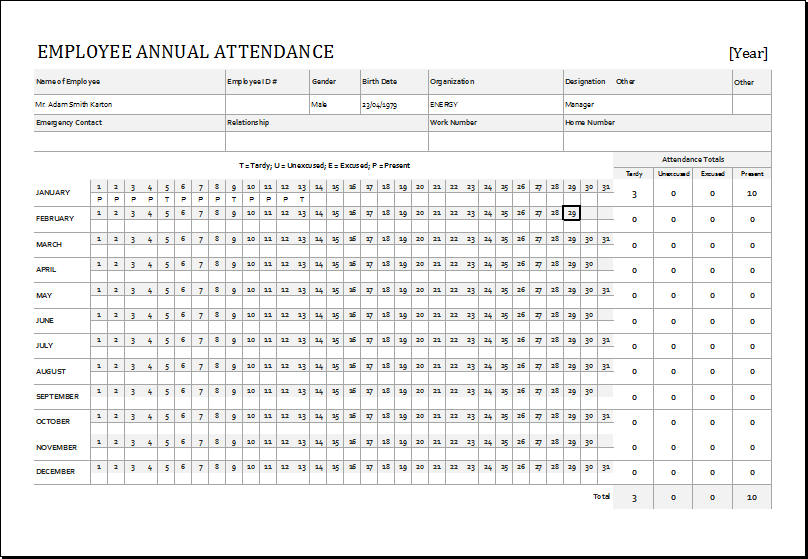 Yearly Attendance Record Template - Template