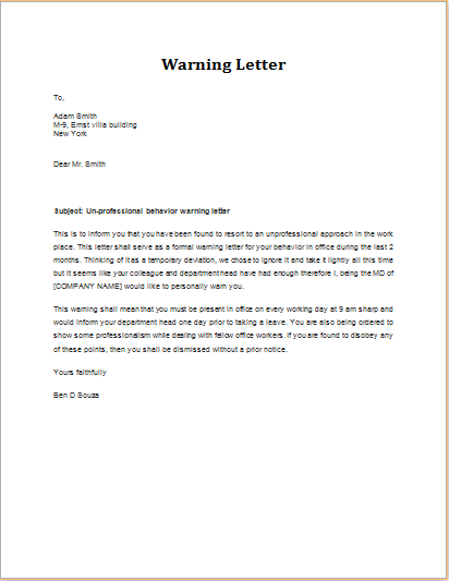 Sample Letter To Complaint For Poor Service Or Product Sample Warning Letter Employee Behavior