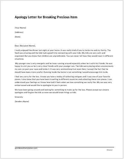 Apology Letter Templates for WORD Word  Excel Templates - how to make an apology letter