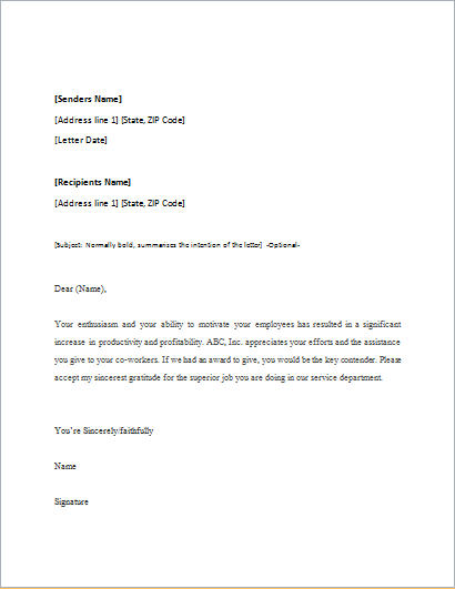 Complaint Letter Sample Complaint Letter Format Appreciation Letter Template For Word Word And Excel Templates