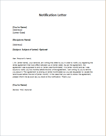 Cover letter notification of death