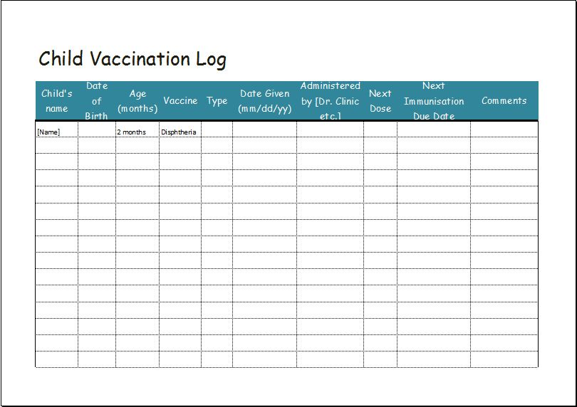 Child Vaccination Log Template Word  Excel Templates - log template in word