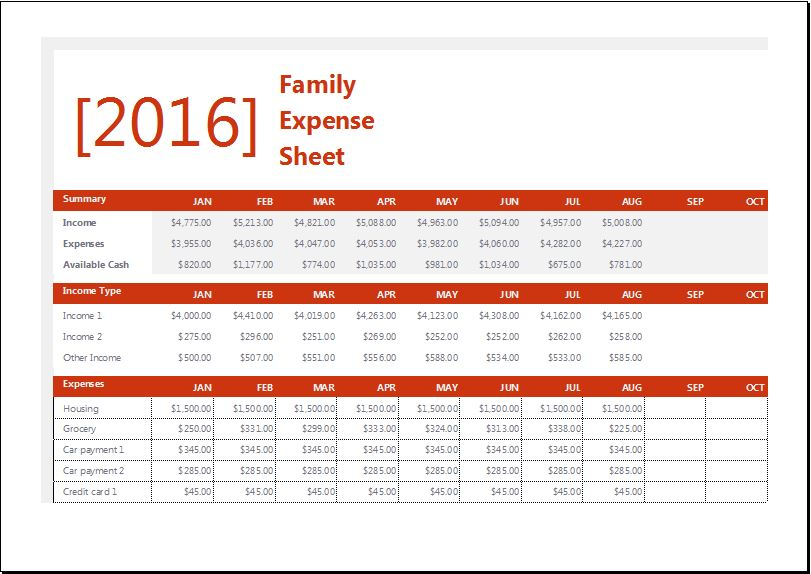 Family Expense Sheet with Monthly Household Budget Word \ Excel - expense sheet