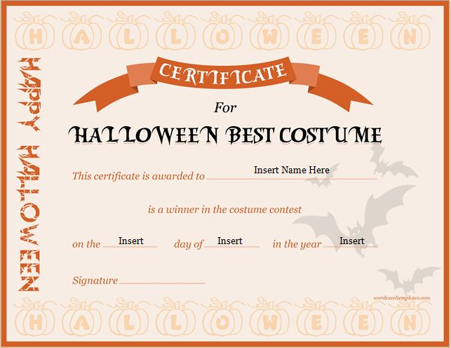 Halloween Best Costume Certificate Templates Word \ Excel Templates - awards certificates templates for word