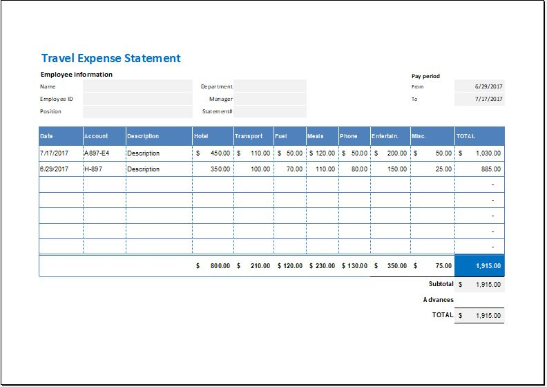 Travel Expense Statement Template for MS Excel Word  Excel Templates