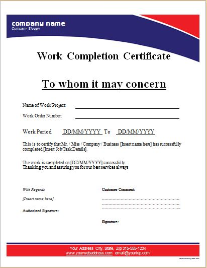 Work Completion Certificate Templates for MS WORD Word  Excel - certificate of completion sample