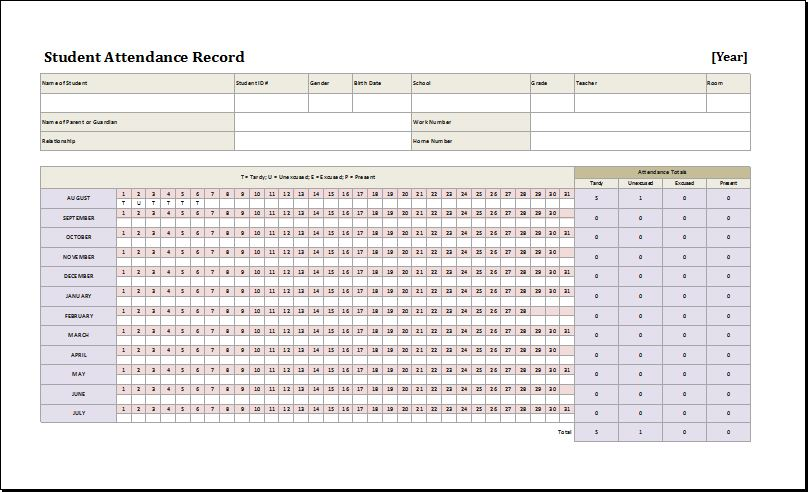 Daily, Weekly  Monthly Student Attendance Sheets Word  Excel