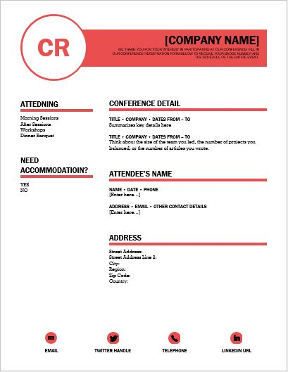 Conference Registration Form Template for WORD Word  Excel Templates - registration forms