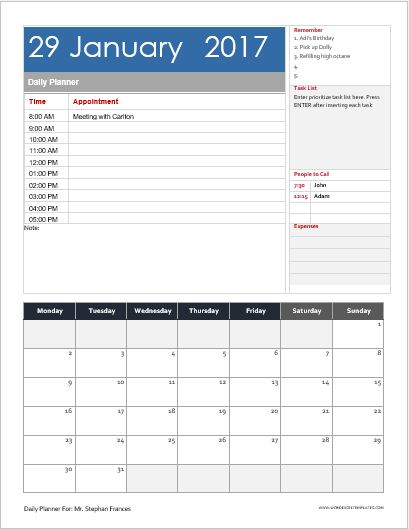 Daily, Weekly  Monthly Planner Templates for MS Word Word  Excel