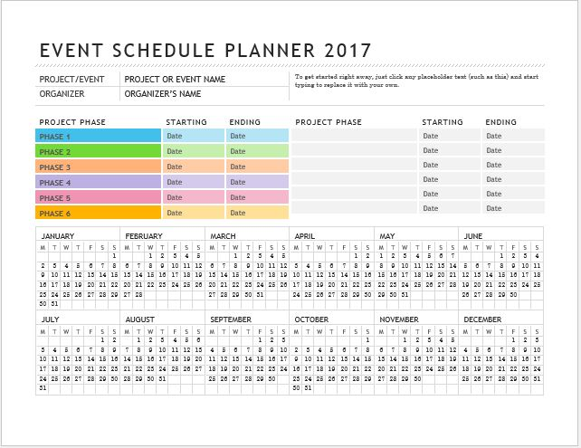Daily, Weekly \ Monthly Planner Templates for MS Word Word - event timetable template