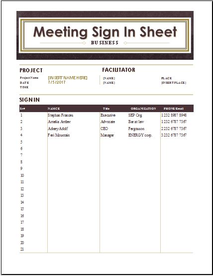 Visitors Inquiry Form Templates for WORD Word \ Excel Templates - meeting sign in sheet templates