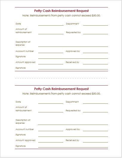 Reimbursement Request Form  Letter Templates Word  Excel Templates
