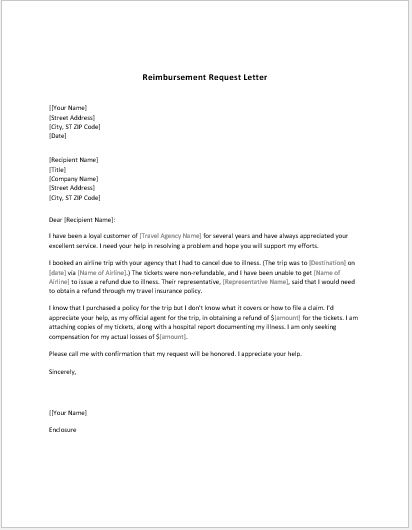 reimbursement letter template