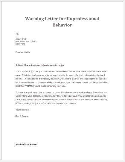 17 Employee Warning Letter Templates Word  Excel Templates - writing warning letter for employee conduct
