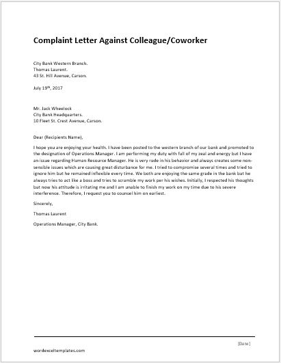 Ielts Complaint Letter Model Complaint Letter For Illegal Parking Word And Excel Templates