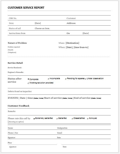 Service Feedback Form Customer Service Report Template For Ms - service form in word