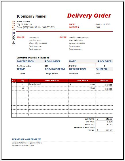 Delivery Order Form Templates for MS Word  Excel Word  Excel