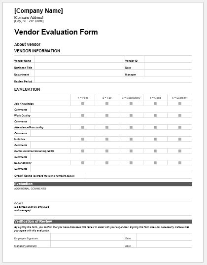 Vendor Evaluation Forms  Templates for MS Word Word  Excel Templates