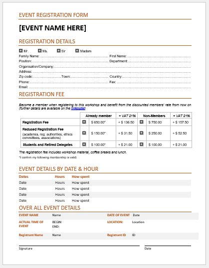 conference registration form template word - Timiznceptzmusic