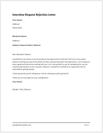 Interview Request Rejection Letters MS Word Word  Excel Templates