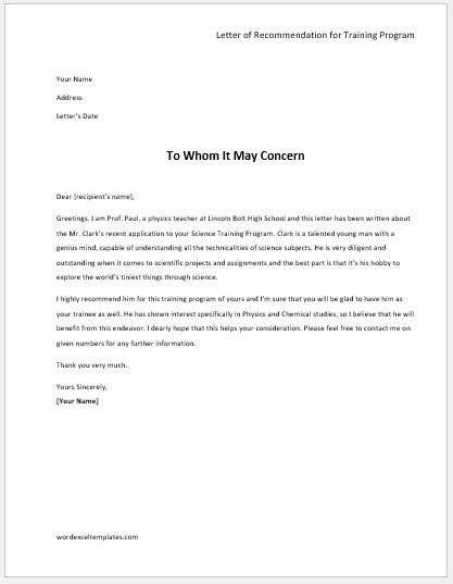 Free Letter Of Recommendation Template And Format Academic Recommendation Letters Word And Excel Templates
