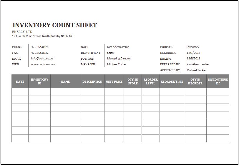 Physical Inventory Count Sheet Template for Excel Word \ Excel - inventory sheets template