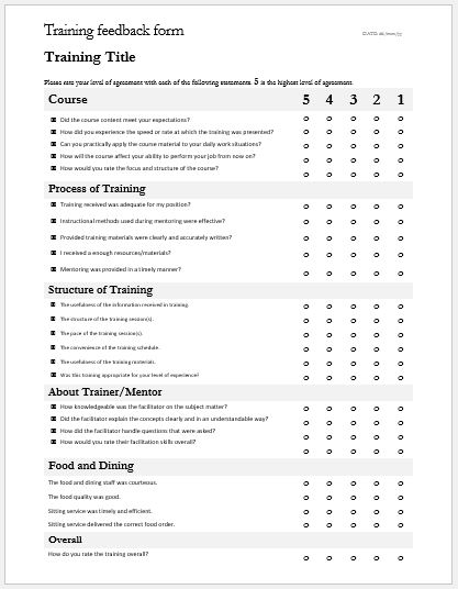 Training Feedback  Evaluation Forms for MS Word Word  Excel