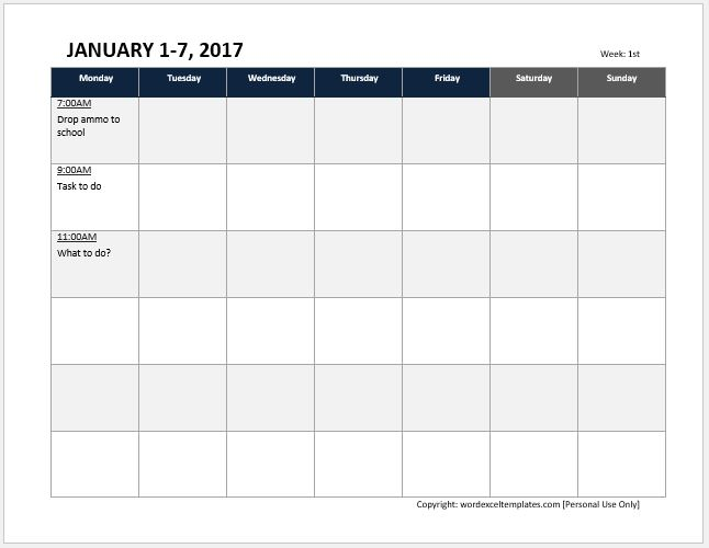 Student Class Timetable Sheets for MS Excel Word  Excel Templates