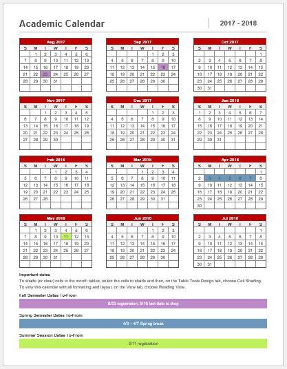 academic year calendar template
