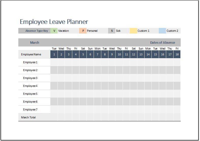 Employee Leave Planner Template for MS Excel Word  Excel Templates