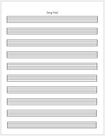 Music Paper Sheets for MS Word Word  Excel Templates