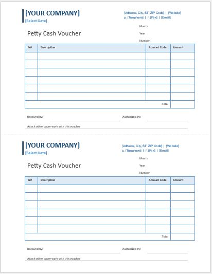 petty cash voucher template word