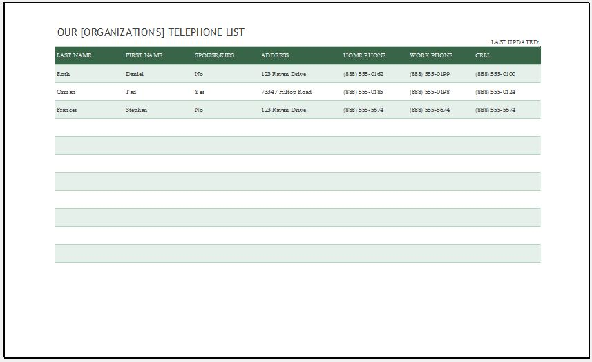 Phone List Template for MS Excel Word  Excel Templates