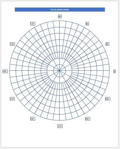 Polar Graph Paper Samples for MS Word Word  Excel Templates
