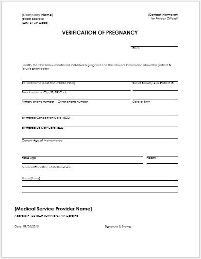 Pregnancy Confirmation Letter for MS Word Word  Excel Templates