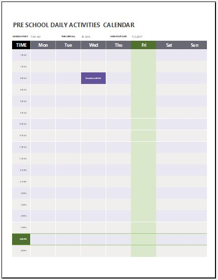 Preschool Calendar Templates for MS Word  Excel Word  Excel - preschool calendar template
