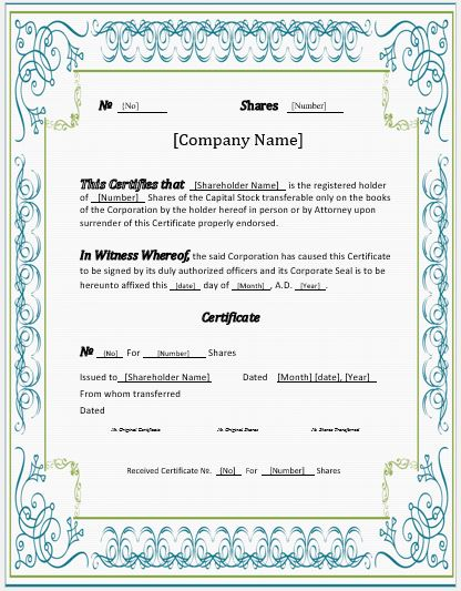 Stock Certificates -2018 Templates for MS Word Word  Excel Templates
