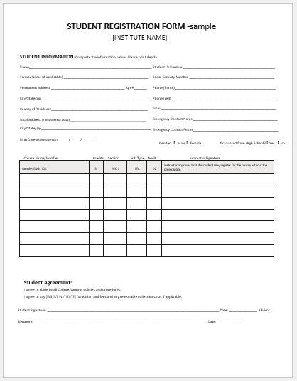 enrollment form templates - Towerssconstruction