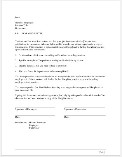 17 Employee Warning Letter Templates Word  Excel Templates