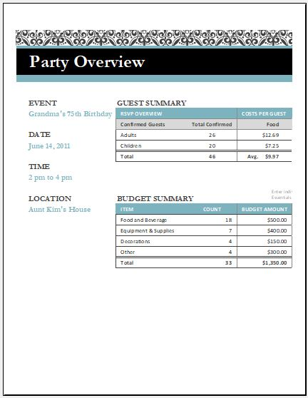 Birthday Party Arrangement Checklist for Excel Word  Excel Templates