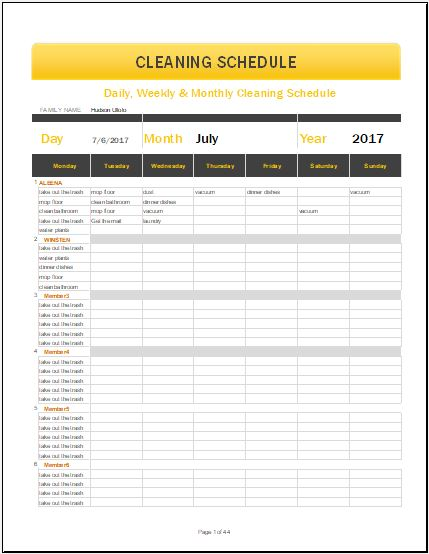Daily, Weekly  Monthly Cleaning Schedule Template for MS Excel