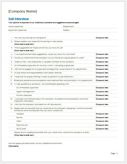 Employee Exit Interview Form Template for MS Word Word  Excel - Exit Interview Form