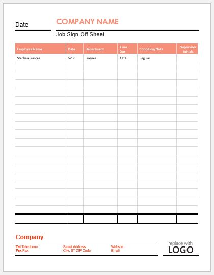 sign off sheet template excel - Canasbergdorfbib