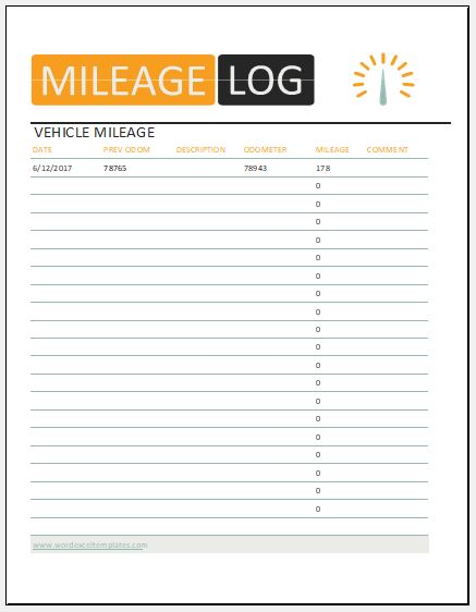 10+ Vehicle Mileage Log Templates for MS Excel Word  Excel Templates