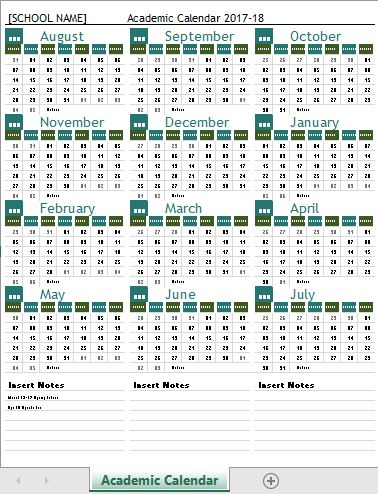 Academic Calendar Templates 2017-18 for MS Excel Word  Excel - academic calendar template